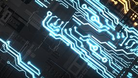 Electronic circuitry with gold on black background. 3d render and illustration Royalty Free Stock Images