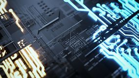 Electronic circuitry with gold on black background. 3d render and illustration Stock Photos