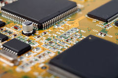 Electronic circuits. Detailed view on the Electronic circuits Stock Image