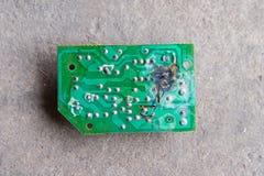 Electronic circuits. Burn. board burning Stock Image