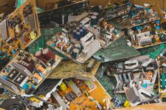 Electronic circuits garbage royalty free stock photos