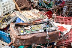 Electronic circuits waste for recycling. Electronic circuits garbage for recycling stock image