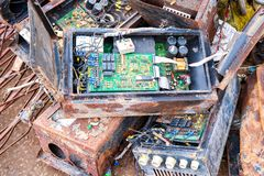 Electronic circuits waste for recycling. Electronic circuits garbage for recycling royalty free stock photo