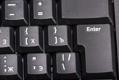 Electronic collection - black computer keyboard with key enter Stock Images