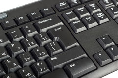 Electronic collection - black computer keyboard with key enter Stock Photos