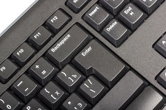 Electronic collection - black computer keyboard with key enter Stock Image