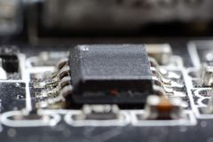Electronic collection - computer circuit board with radio compon Stock Photo