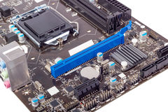 Electronic collection - Computer motherboard without CPU cooler Royalty Free Stock Photos