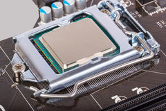 Electronic collection - CPU socket on motherboard Stock Photo