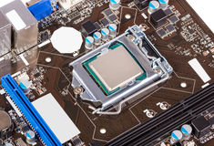 Electronic collection - CPU socket on motherboard Royalty Free Stock Images