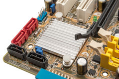 Electronic collection - digital components on computer mainboard Royalty Free Stock Photos