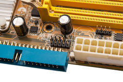 Electronic collection - digital components on computer mainboard Stock Photo