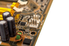 Electronic collection - digital components on computer mainboard Stock Images