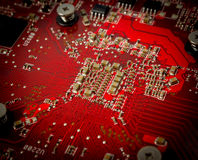 Electronic collection - Electronic components on the PCB Royalty Free Stock Photo