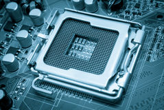 Electronic collection - Empty CPU socket toned blue Royalty Free Stock Images