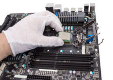 Electronic collection - Installation of processor Stock Photography