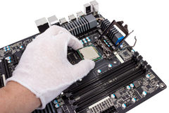 Electronic collection - Installation of processor Stock Image
