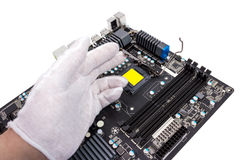 Electronic collection - Installation of processor Stock Photo