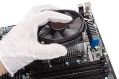 Electronic collection - Installing CPU cooler Stock Image