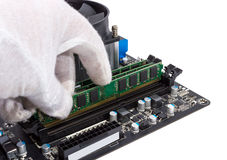 Electronic collection - Installing memory module in DIMM slot on Royalty Free Stock Images