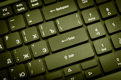 Electronic collection - laptop keyboard. The focus on the Enter Stock Image