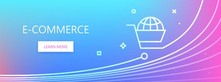 Electronic commerce banner. Blue and pink colored vector banner with E-commerce words and shopping cart in flat line style royalty free illustration