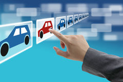 Electronic commerce car showroom. Man hand select new car from electronic showroom for e-commerce concept Stock Image