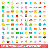 100 electronic commerce icons set, cartoon style. 100 electronic commerce icons set in cartoon style for any design vector illustration Royalty Free Stock Photos