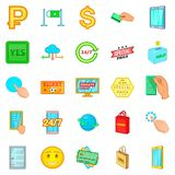 Electronic commerce icons set, cartoon style. Electronic commerce icons set. Cartoon set of 25 electronic commerce vector icons for web isolated on white Royalty Free Stock Photo