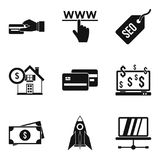 Electronic commerce icons set, simple style. Electronic commerce icons set. Simple set of 9 electronic commerce vector icons for web isolated on white background Royalty Free Stock Photos