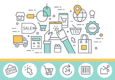 Electronic commerce and internet shopping concept illustration stock illustration