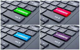 Electronic commerce key on enter computer button. As online shopping concept Stock Images