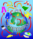 Electronic commerce on the planet. Illustration that visually depicts the traffic of e-commerce, by showing how your home can order goods from all over the Stock Images
