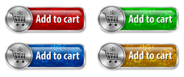 Electronic commerce web elements. Metallic and glossy web elements/buttons with snowflake background for online shopping. Vector illustration Stock Image