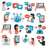 Electronic Communication Devices Icons Set. Electronic communication mobile devices for chat messaging talking flat icons collection with smartphone tablet Stock Photography