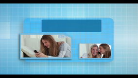 Electronic communication montage animation with video examples Royalty Free Stock Image