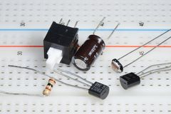 Electronic component on Breadboard. Various Electronic components on Breadboard Stock Photo