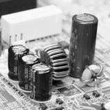 Electronic component on old mainboard Royalty Free Stock Image