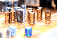Electronic components. The base printed circuit board.Part of the circuit of electronic equipment Stock Photos