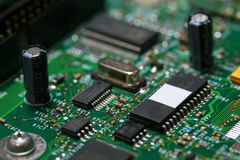 Electronic Components. Circuit board with ICs.  Some blur Stock Photo