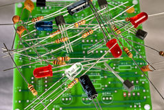 Electronic components and circuit board Royalty Free Stock Images