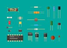 Electronic components, circuit set. Stock Photo
