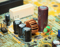Electronic components on a computer plate Stock Images