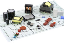 Electronic components and the electric scheme Stock Images