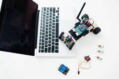 Electronic components on geek workplace, diy rc car Royalty Free Stock Photos