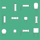 Electronic components icons set resistors.. Vector illustration Stock Photos