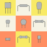 Electronic components icons set resistors. Vector. Illustration Stock Photography
