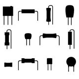 Electronic components icons set, silhouette. Resistors isolated on white background. Vector illustration Stock Photography