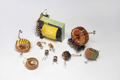 Electronic components: inductors with toroid core,  Stock Photos