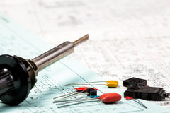 Electronic components and iron on electric schemes Stock Image
